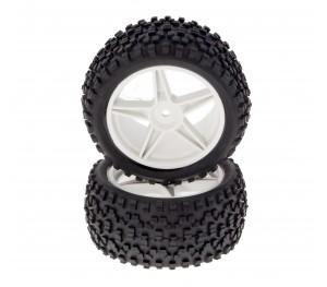 Paire de pneus tout terrain montés sur jantes 42mm 1/10