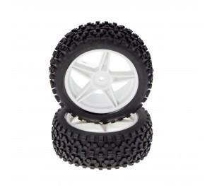 Paire de pneus tout terrain montés sur jante 34mm blanches 1/10