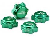 4 caches écrous de roues verts aluminium 1.25