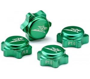 4 caches écrous de roues 1/8 verts aluminium 1.25