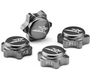 4 caches écrous de roues 1/8 gris aluminium 1.25