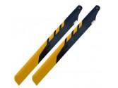 Pales en fibre de carbone noire et jaune 325mm