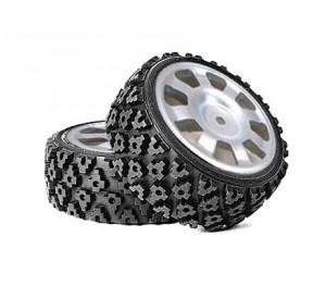Jantes Nascar chrome mat + pneus Rally Block 26mm AV/AR