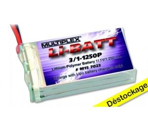 Li-Batt 3/1-1250P M6 11.1V/ 1250mAh Multiplex