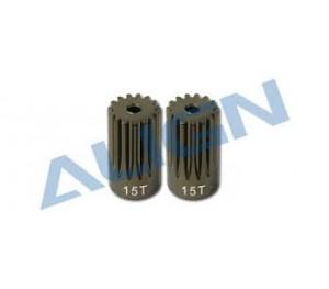H60174 - Pignon moteur 15 dents M0,7 métal (2 pcs) - TREX 600 UPGRADE ALIGN